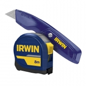 Irwin 8m x 25mm Tape Measure ProTouch Grip & Utility Knife Combo T9098059