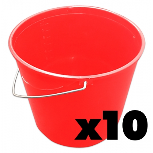 Black 10ltr Durable Soft Trademan Plastic Buckets x10