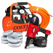 Plasterers Coil Air Gun Compressor Package with Nails