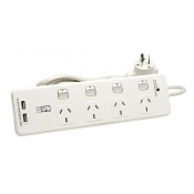 HPM Powerboard 4 Socket Switched With USB D104PAUSBWE