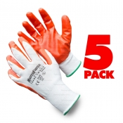 MasterFinish 5 Pack Large Trade Tough Contractors Gloves Nitrile Coated MFNGO-5
