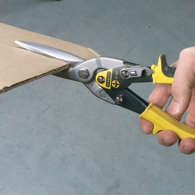 stanley tin snips. stanley fatmax® 320mm straight cut compound action aviation snips 14-563 tin e